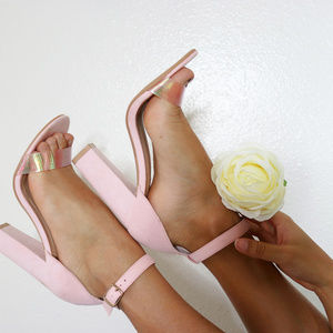 Blush Pink Open Toe Chunky Heels